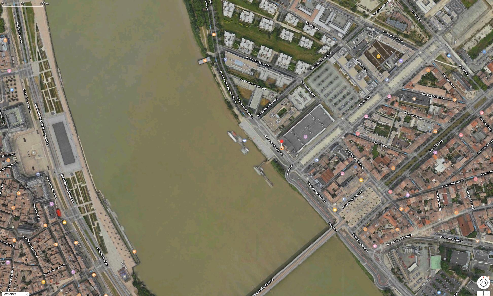 Embarcadère situé à l'emplacement de la marque rouge